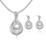 Fashion Drop Shape Copper Silver Plated imitation pearl Jewelry Sets(White)(1Set)