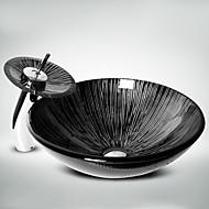 Suvremena T1.2×Φ42×H14.5cm(T0.47×Φ16.54×H5.71 inch) Krug Sudoper materijala je Kaljeno stakloKupaonica Sudoper / Kupaonica pipa /