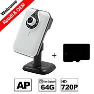 besteye® h.264 wifi kamera ip hd 720p 1.0m pixels ir nattesyn kabel eller trådløst kamera med SD-kort