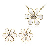 Fashion Flower Shape Alloy Rose Gold Plated Czech Drill Foreign Trade Jewelry Sets(2 color)(1Set)