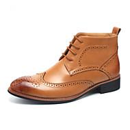 מגפיים גברים של נעליים קז'ואל דמוי עור שחור / חום / כתום