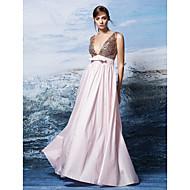 포멀 이브닝 드레스 A-라인 V-넥 바닥 길이 스팽글 / 폴리에스테르 와 리본 / 스팽글