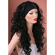 3/4 parrucche con parrucca di capelli fascia lunghi neri ricci sintetico