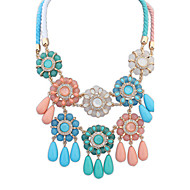 Women's Fashion Colorful Ethnic Style Water Droplets Alloy Acrylic Resin Necklace