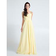 Floor-length Chiffon Bridesmaid Dress-Plus Size / Petite Sheath/Column Queen Anne