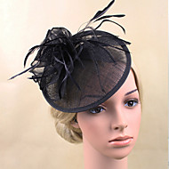 Women Feather/Net Bride Hats/Flowers With Wedding/Party Headpiece Black/Beige