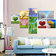 VISUAL STAR® Modern Tree Pictures Printed on Canvas Set of 8,Spring/Summer/Autumn/Winter Landscape Canvas Ready to Hang