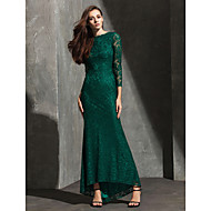Homecoming Formal Evening Dress - Dark Green Trumpet/Mermaid Bateau Asymmetrical Lace