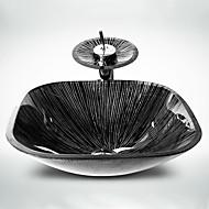 עדכני 1.2*42*42*14 ריבוע חומר סינק הוא זכוכית מחוסמת כיור אמבטיה ברז אמבטיה טבעת הצבה לאמבטיה ניקוז מי אמבטיה