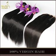 3 חבילות שיער בתולה קמבודי ישר עם סגירת מארג שיער אדם לא מעובד עם פנוי / אמצע / סגרים תחרה 3 חלק