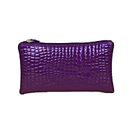 Women Crocodile Patent Leather Wrist Strap Zipper Casual Clutch Bag Coin Purse