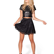 Women's Lace Micro-elastic Ruffle Hem Thin Mini Pleated Skirts