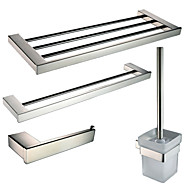 Polish Stainless Steel Bath Hardware Set with Towel Shelf Toilet Paper Holder Double Towel Bar and Toilet Brush Holder