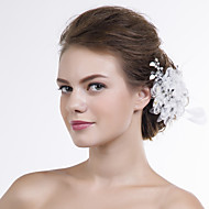 Feather Women Lace/Organza Flowers With Multi-stone Wedding/Party Headpiece