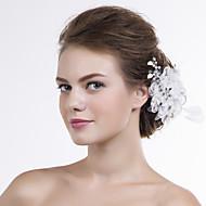 Mulheres Renda / Organza Capacete-Casamento / Ocasião Especial Flores 1 Peça Prata / Claro Irregular
