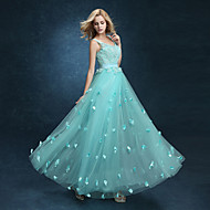 Formal Evening Dress A-line V-neck Ankle-length Lace with Lace