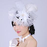 Dame Fjer/Tyl/Imiteret Perle/Chiffon Medaljon Bryllup/Speciel Lejlighed Blomster/Krans Bryllup/Speciel Lejlighed 1 Stykke