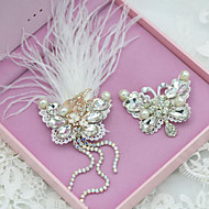 Lovely Feather/Rhinestones Party Headpieces with Imitation Pearls (2 pieces/set)