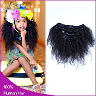 6a afro kinky krullend clip in human hair extensions Maleisische maagd haar clip in extensie human hair extensions