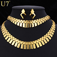 U7® Women's New Trendy Ethiopian Wedding Jewelry Platinum/18K Real Gold Plated Geometric African Jewelry Set