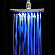"Chrome Polished ABS 3 Colors Changing Sqaure Showerhead 8"" Rain Shower Head"