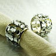 anneau de cristal de décoration de serviette, acrylique, 1.77inch, set de 12