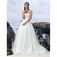 Lan Ting A-line Court Train Wedding Dress - Strapless Lace/Tulle