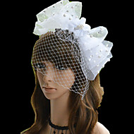 Women's Pearl/Rhinestone/Net Headpiece - Wedding/Party White Bow-knot Flowers