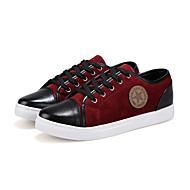 גברים של נעליים משרד ועבודה/קז'ואל דמוי פרווה/עור פטנט סניקרס אופנתיים שחור/כחול/אדום