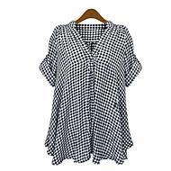 Diepe V-hals - Polyester Vrouwen - Overhemd - Korte mouw