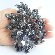 Wedding 4.33 Inch Vintage Gray Rhinestone Crystal Flower Brooch Art Deco Brooch Bouquet