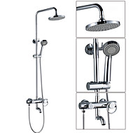 Wall Mounted Single Handle 180° Rotation Spout Rain Shower Faucet Set with 8 Inch ABS Grey Head Shower and Hand Shower