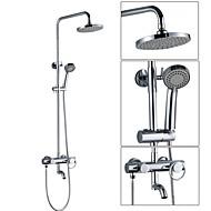 Současné Nástěnná montáž Dešťová sprcha / Včetne sprchové hlavice with  Keramický ventil Single Handle dva otvory for  Pochromovaný ,