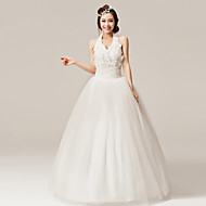 A-line Floor-length Wedding Dress - Halter Organza
