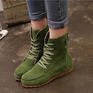 נעלי נשים - מגפיים - דמוי סוויד - נוחות / מגפונים - שחור / ירוק / אדום / חאקי - קז'ואל - עקב וודג'