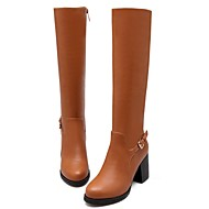 Women Knee Boots Gladiator Chunky Heels Outdoor Casual Dress Shoes Motorcycle Boots 2 colors abailable