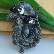 2.75 Inch Vintage Black Gray Rhinestone Crystal Lizard Brooch Pin Art Decorations