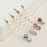 Double Diamond Hairpin (Set Of 6)(Colours Random)