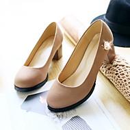 Women's Shoes Faux Leather Chunky Heel Heels Pumps/Heels Office & Career/Casual Black/Purple/Red/Beige