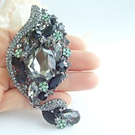 Gorgeous 4.33 Inch Vintage Gray Rhinestone Crystal Flower Brooch Women Jewelry Art Deco