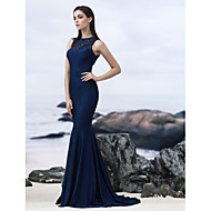 TS Couture® Formal Evening Dress - Dark Navy Trumpet/Mermaid Jewel Sweep/Brush Train Lace