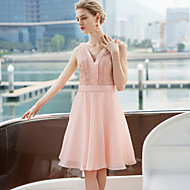 Cocktail Party Dress - Blushing Pink A-line V-neck Short/Mini Satin
