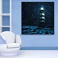 E-HOME® Stretched LED Canvas Print Art Snowy Night Lighthouse LED Flashing Optical Fiber Print