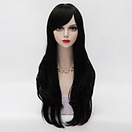 harajuku lolita longo cabelo crespo em camadas com estrondo lado voga sintética resistente ao calor peruca preta partido