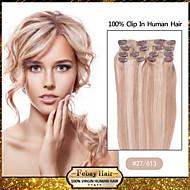 """18 """"7pcs cor 27/613 grampo em extensões do cabelo humano remy"""