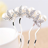 Korean Style Flower Alloy Hot Sale Hair Comb(White)(1Pc)