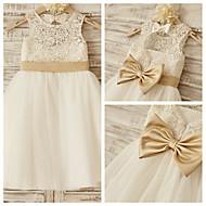 Princess Knee-length Flower Girl Dress - Lace/Tulle Sleeveless