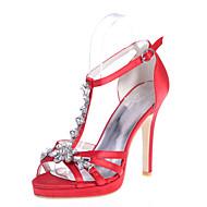 Sandály - Satén - Otevřená špička - Dámská obuv - Fialová / Červená / Slonovinová / Bílá / Stříbrná / Champagne - Svatba / Party - Vysoký