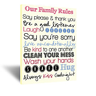 VISUAL STAR®Our Family Rules Wall Art Slogan Home Decor,Family Rules Wall Hanging Art