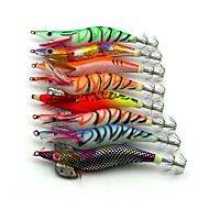 Fluorescent Shrimp Wood Baits Fishing Lures 8pcs/Set 110mm 13.5g